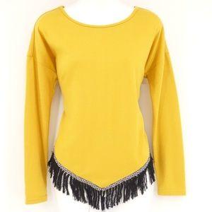 DOUBLE ZERO Top Mustard Yellow Long Sleeve Blouse